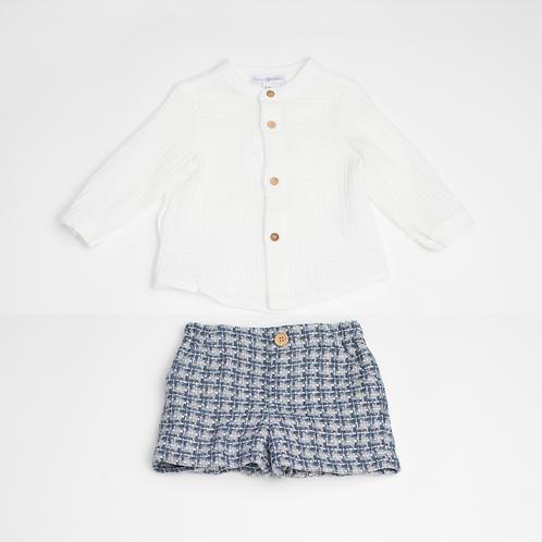 Conjunto de Camisa muselina y Bermuda Pata de Gallo