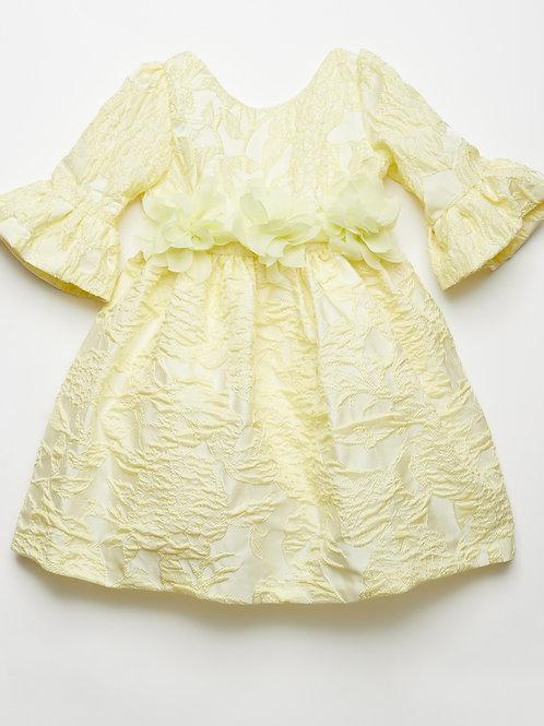 Vestido Brocado Reina Amarillo
