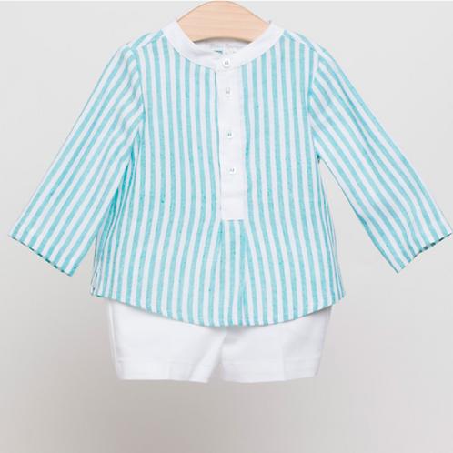 Camisa Rayas Lino y Bermudas