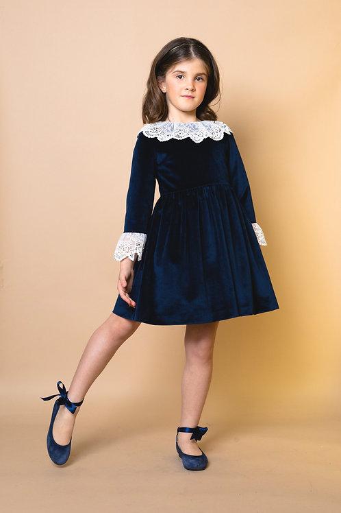 Vestido Terciopelo Marino con encaje