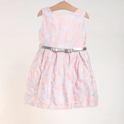 Vestido Brocado Rosa y Plata