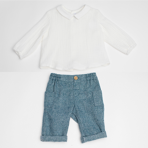 Conjunto de Camisa muselina y Pantalón espigas