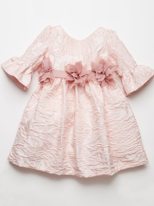 Vestido Brocado Reina Rosa