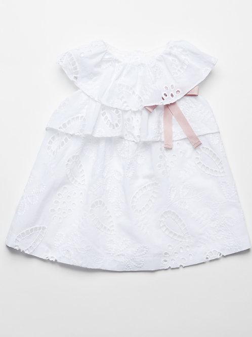 Vestido Bordado Tela Taladrada