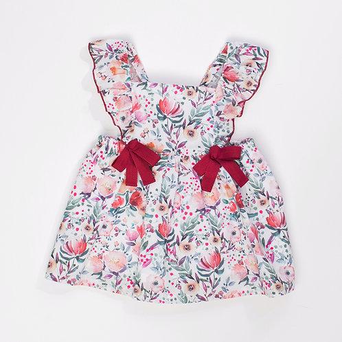 Vestido - Peto Flores Cereza