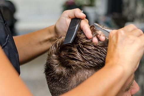 men's hair cutting scissors in a beauty