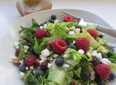Triple Berry Summer Salad with Strawberry Vinaigrette