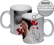 CANECA DE PORCELANA EFEITO GLITTER SILVER 325ML