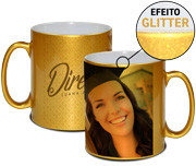 CANECA DE PORCELANA EFEITO GLITTER GOLD 325ML