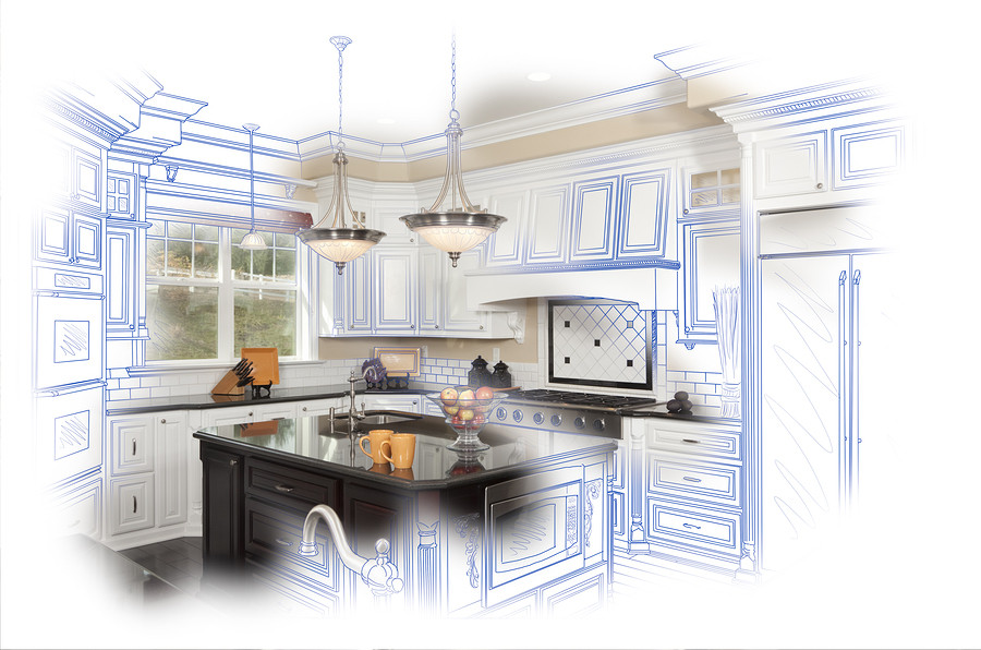 Photo of a kitchen design with granite countertops on the island