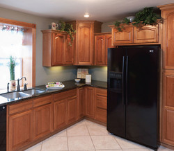 Hickory Cabinets with Stainless Sink