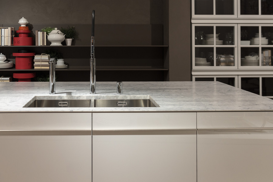 rectangle sink on a marble countertop