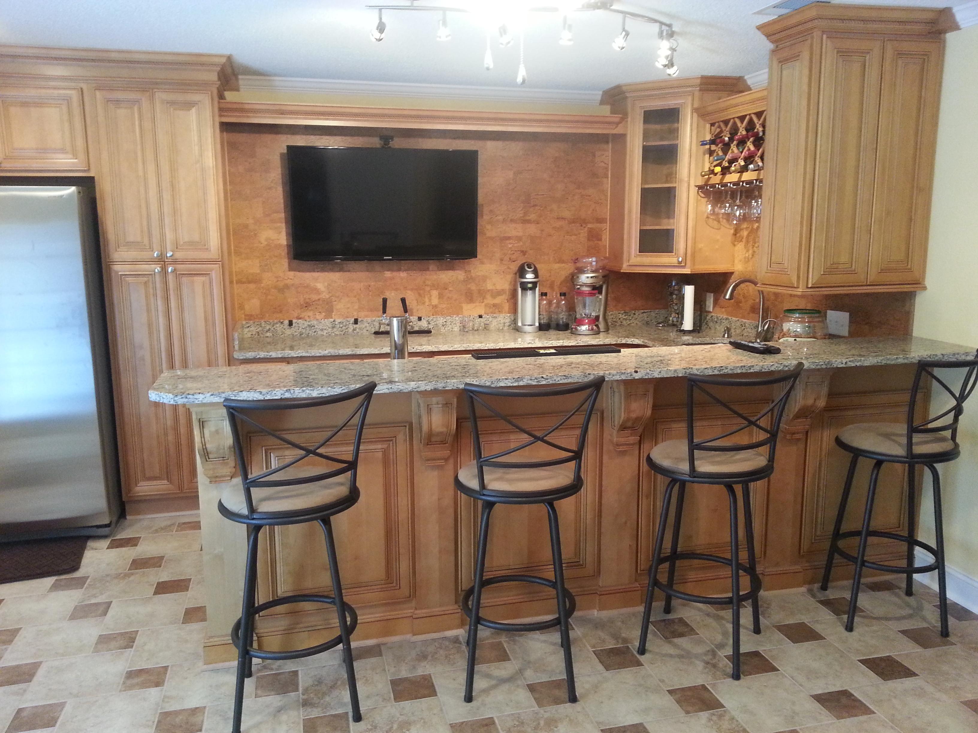 Mocha Glaze Bar Cabinets