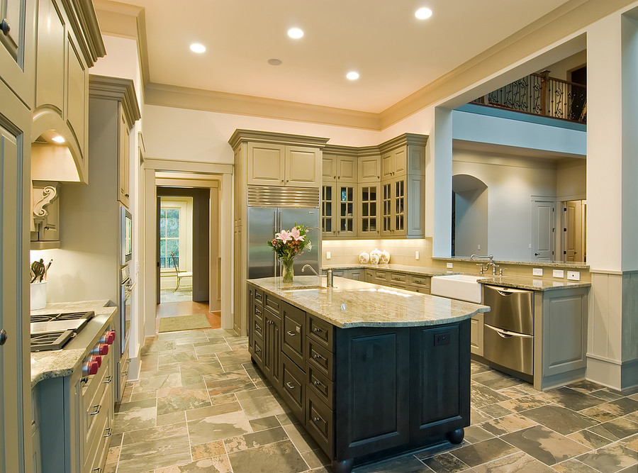 2 colored kitchen with marble countertop island