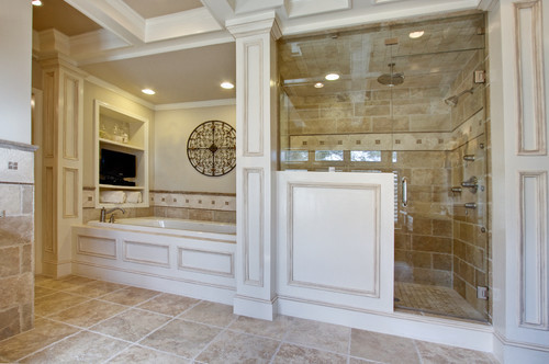 large bathroom with white paneling