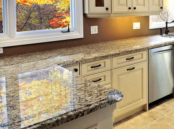 Granite countertop with ogee edge chip repaired