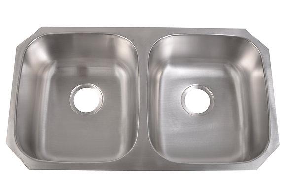 Standard Radius Undermount 50/50 Sink (equal bowl)
