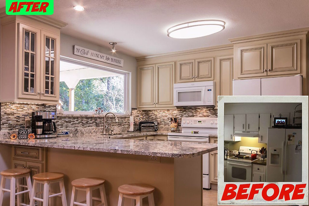 before and after of a kitchen remodel in Niceville
