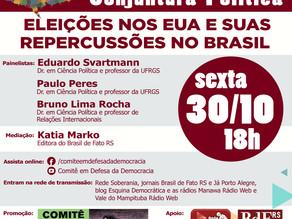 COMITÊ EM DEFESA DA DEMOCRACIA PROMOVE DEBATE SOBRE ELEIÇÕES NOS EUA E REPERCUSSÕES NO BRASIL