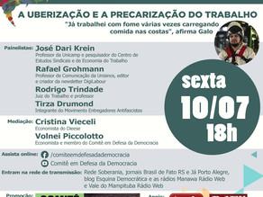 COMITÊ PROMOVE DEBATE SOBRE A UBERIZAÇÃO E A PRECARIZAÇÃO DO TRABALHO, NA SEXTA-FEIRA (10/7), ÀS 18H