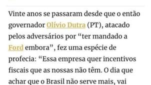"ROSANE DE OLIVEIRA É CRITICADA NAS REDES SOCIAIS AO CITAR  OLÍVIO DUTRA E A ""PROFECIA"" SOBRE A FORD"