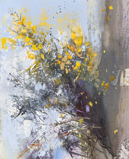 Flowering Gorse and passing Fieldfares