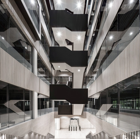Plasterboard ceilings under the staircases on our completed project at 160 Aldersgate for McLarens.
