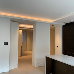 A completed room to a bespoke finish on our project in Park Crescent for Red Construction.