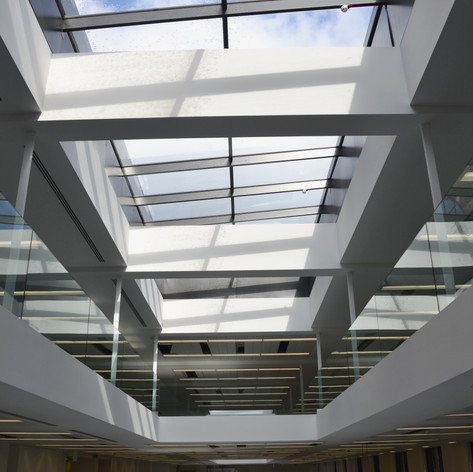 Fully installed plasterboard ceiling at Commodity Key in Central London for McLaren.