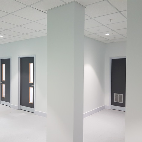 Completed hallway in the Ilford County High School for Kier Group.