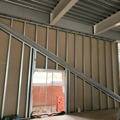 SFS wall in one of the retail units in block M1 on our project in Wokingham for McLaughlin & Harvey.