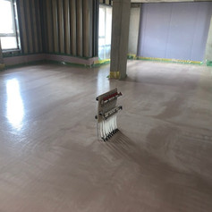 Tarmac liquid Screed poured on our project Woolwich for Higgins Construction.