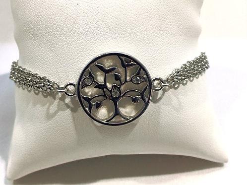 Bracelet acier triple chaîne arbre de vie
