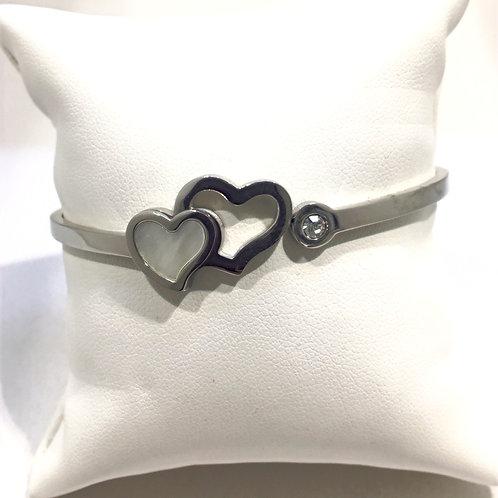 Bracelet esclave double coeur