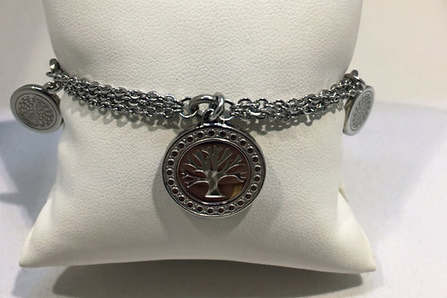 Bracelet acier triple chaîne arbre de vie et breloques