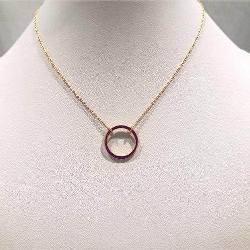 Collier or jaune avec pendentif anneau