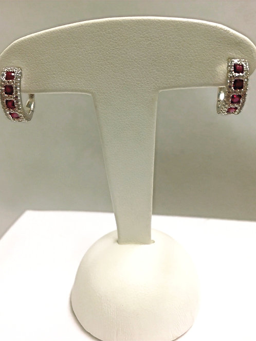 Boucles d'oreille or blanc rubis diamants