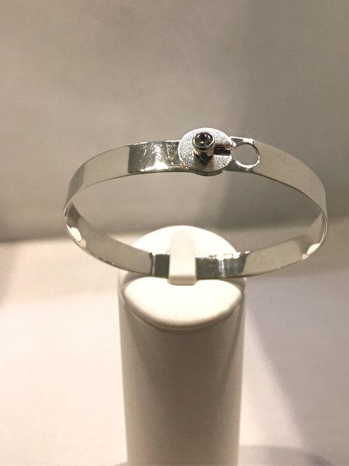 Bracelet argent mat/brillant + zircon