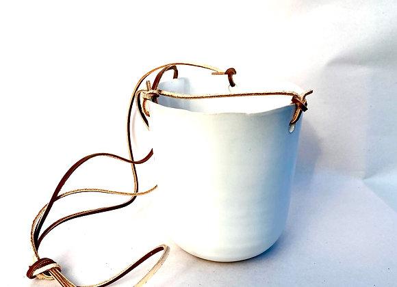 White Ceramic Leather Cord Hanging Basket