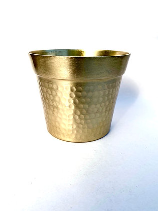 Gold Dimpled Metal Pot