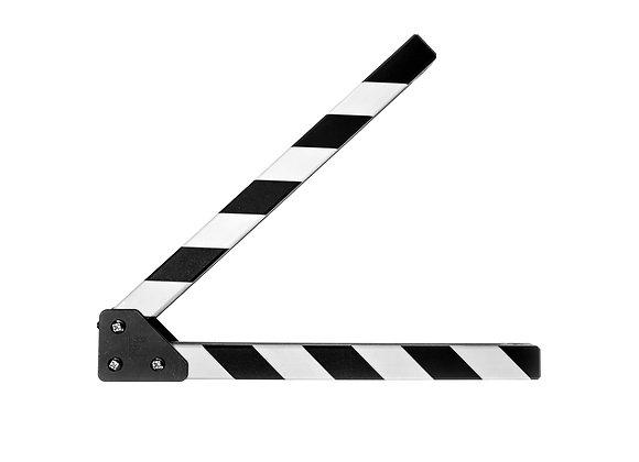 Clapperboard, clapper, slate, board, all weather sticks, clap sticks, clappersticks, filmklappa, klappinnar, stripes, randigt