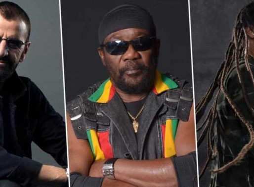 "Ringo Starr, Ziggy Marley e Toots and the Maytals em versão de ""Three Little Birds"", de Bob Marley"