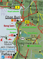 Karta över Chon Buri