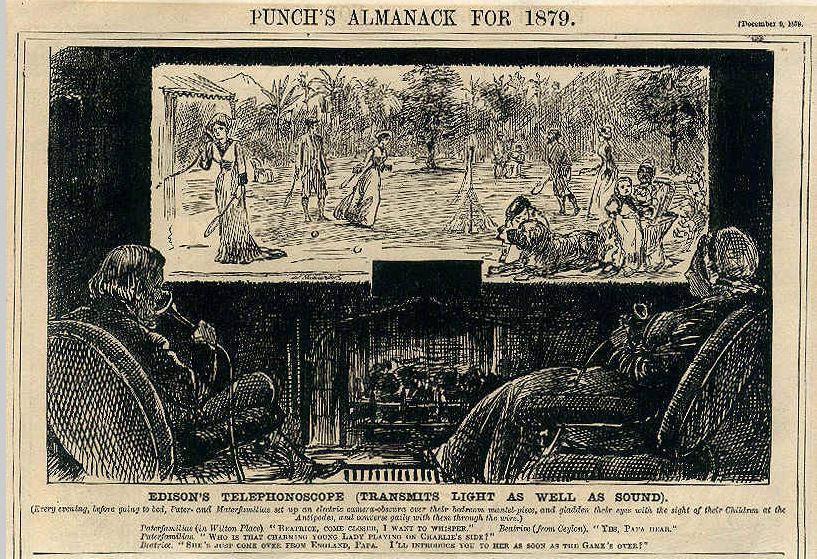 """La première représentation imaginaire d'un écran de télévision """"Edison's Telephonoscope"""" par George du Maurier (1878)"""