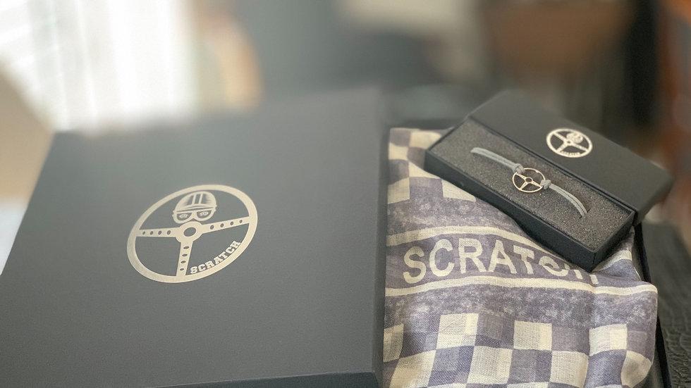 gray gift box scarf & bracelet
