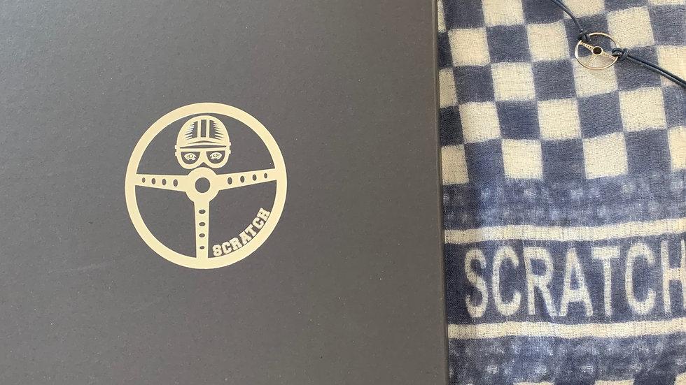 gift box navy blue scarf & bracelet