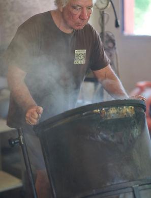 Gerry Caputo of Mariposa Coffee Compay roasting coffee