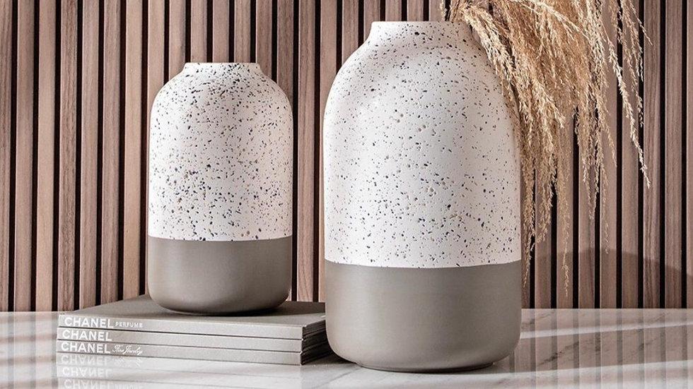 Vaso em Cerâmica Branco Granilite