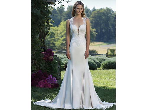 Plunging Neck and Illusion Back Lace Applique Gown STYLE 3921