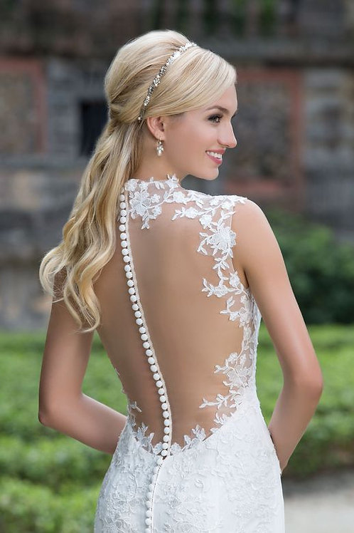 Queen Anne and Illusion Back Lace Gown STYLE 3885